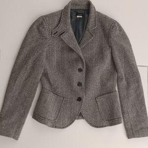 J. Crew B&W Herringbone Career Blazer Jacket